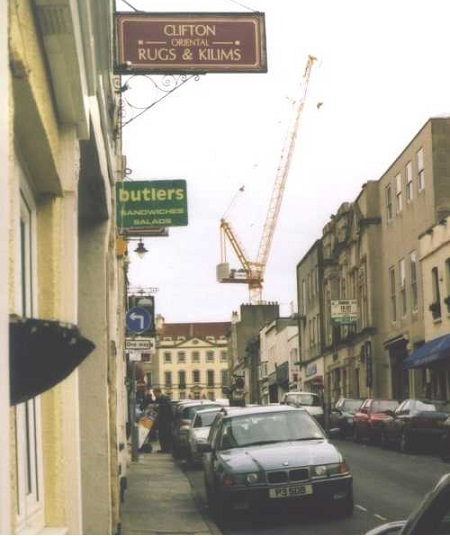 crane towering above the area at  corner of Merchants Road and Regent Street