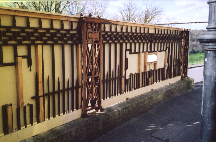 Railings at the top before hoarding removed